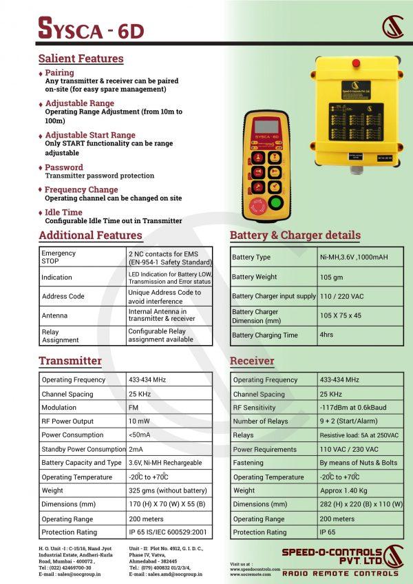 Sysca 6D Radio remote Control System Catalogue
